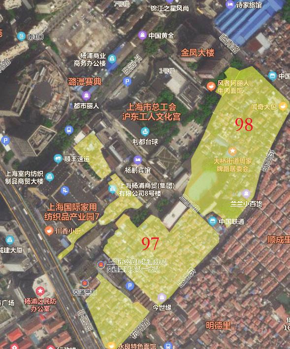 97 98街坊范围 - 杨浦区大桥97、98街坊征收决定发布